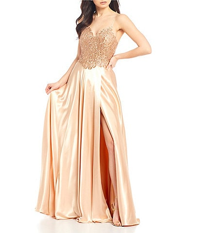 GB Social Embroidered Satin Long Dress