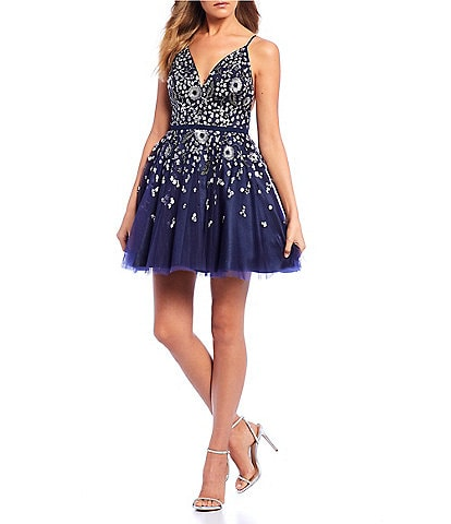 GB Social Floral Beaded Spaghetti Strap V-Neck Dress