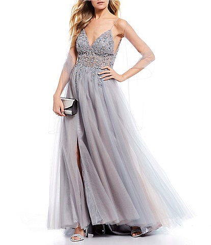 GB Social Side Slit Jeweled Ball Gown