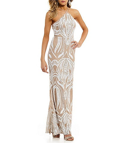 GB Social Halter Neck Sequin Gown