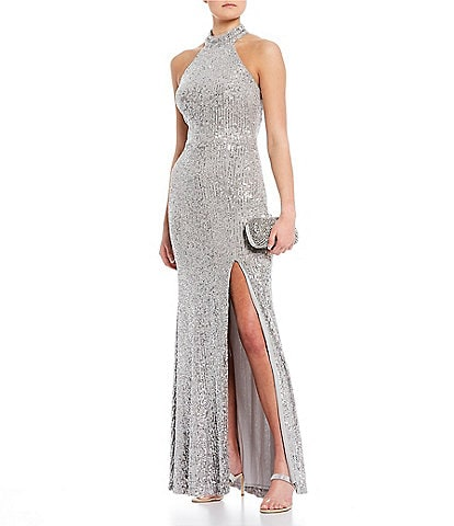 GB Social Halter Neck Side Slit Sequin Sheath Long Dress