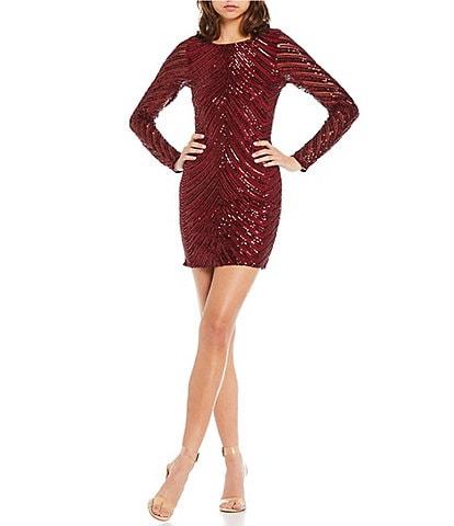 GB Social Long Sleeve Draped-Sequin-Embellished Sheath Dress