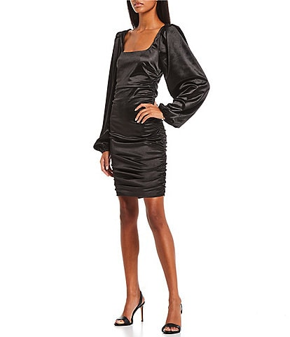 GB Social Square Neck Puff Sleeve Ruched Satin Dress