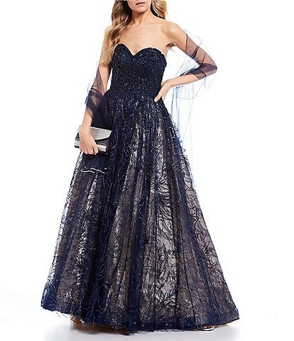 GB Social Strapless Lace Ball Gown