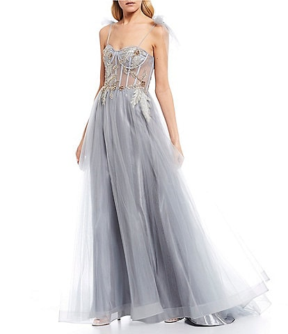 GB Social Tie Shoulder Ball Gown