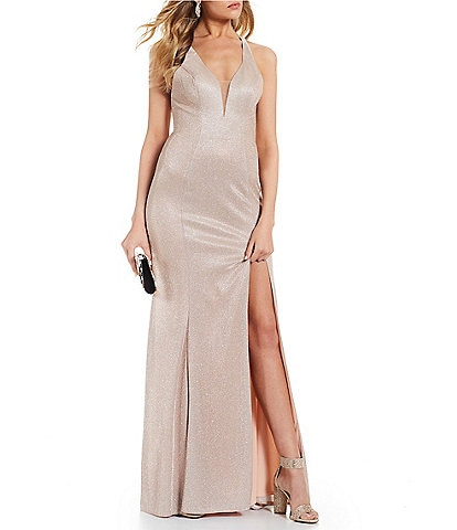 GB Social V-Neck High Side Slit Fitted Gown