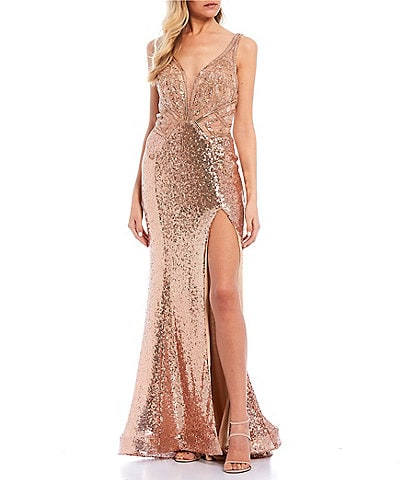 GB Social V-Neck High Side Slit Beaded Long Dress