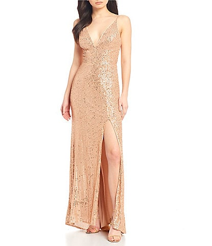 GB Social V-Neck Sequin Long Dress