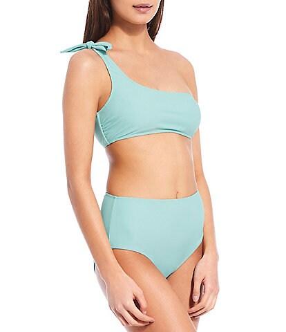 GB Solid Knot One Shoulder Swim Top & High Waist Swim Bottom