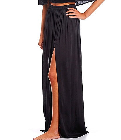 GB Solid Maxi High Rise Skirt Swimsuit Cover Up
