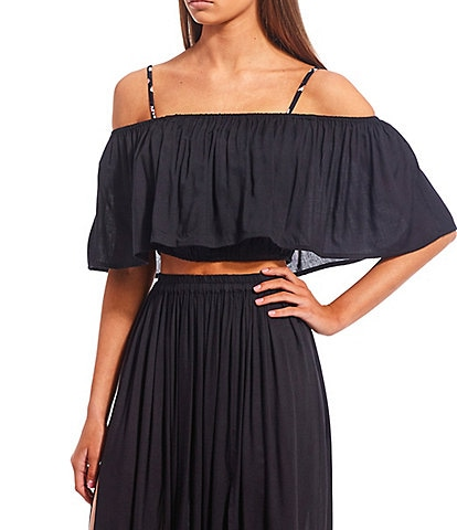 GB Solid Off-the-Shoulder Ruffle Crop Top Swimsuit Cover Up