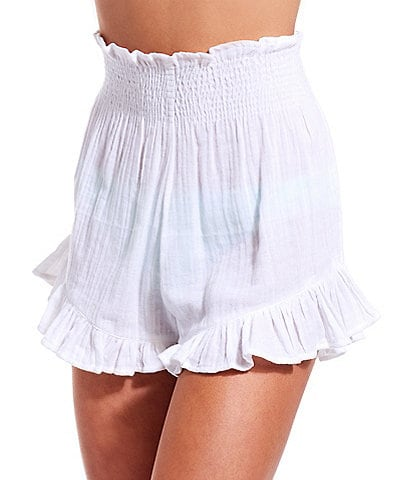 GB Solid Smocked High Waist Ruffle Short Swimsuit Cover Up