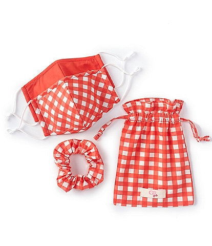 GB Solid/Checked 2-Piece Adjustable Cloth Face Masks, Scrunchie, & Sachet Set