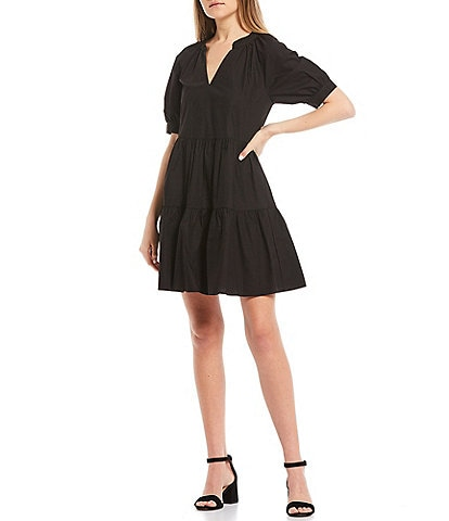 GB Split Neck Poplin Dress