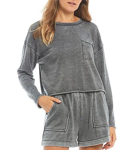 GB Split Raw Hem Pocket Long Sleeve Coordinating Pullover Top