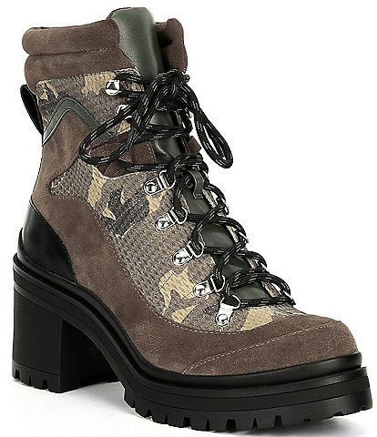 GB Squad-Goals Camo Suede Lace-Up Lug Sole Block Heel Combat Booties