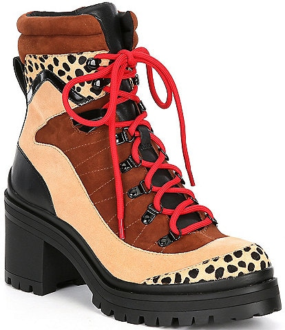 GB Squad-Goals Cheetah Calf Hair Suede Colorblock Lace-Up Lugged Block Heel Booties