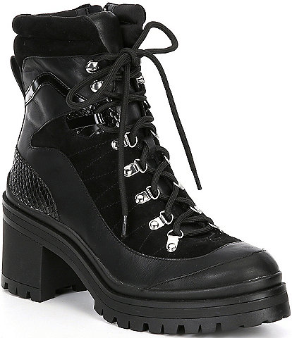 GB Squad-Goals Lace-Up Lugged Block Heel Combat Booties