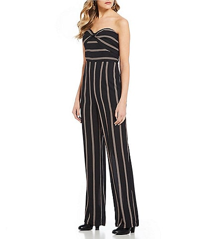 GB Strapless Sweetheart Striped Jumpsuit