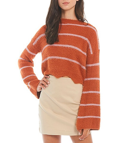GB Striped Eyelash Long Sleeve Sweater