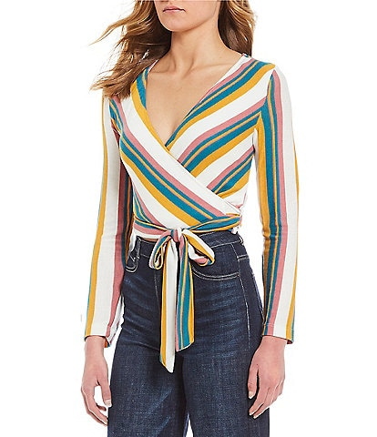 GB Striped Wrap V-Neck Waist Tie Top