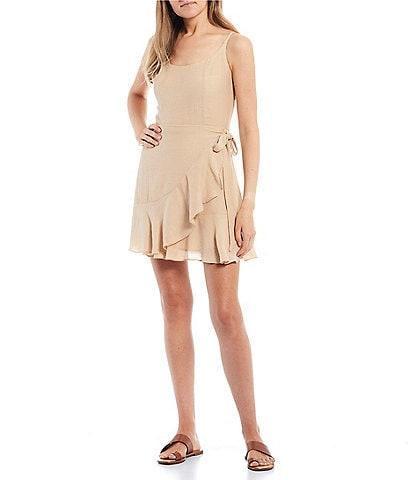 GB Textured Sleeveless Wrap Dress
