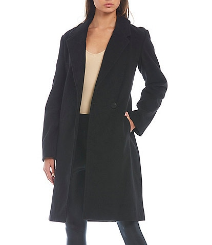 GB The New Long Sleeve Lined Notch Collar Single Breasted Peacoat
