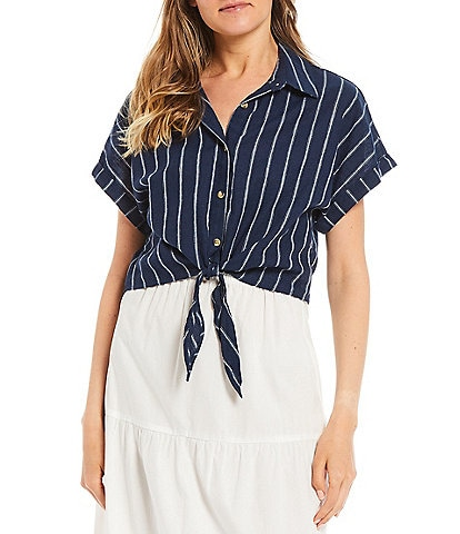 GB Tie Front Striped Button-Front Top