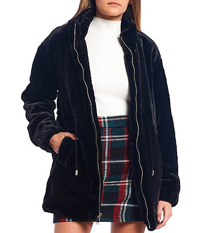 GB Tie Waist Faux Fur Zip Front Coat