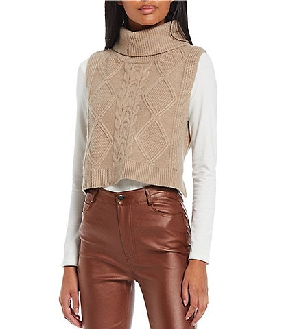 GB Turtleneck Cable Knit Cropped Sweater Vest