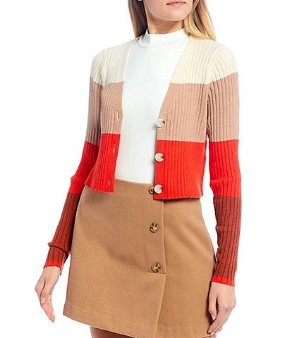GB V-Neck Color-Block Button-Front Cropped Cardigan Sweater