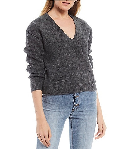 GB V-Neck Long Sleeve Pullover Sweater