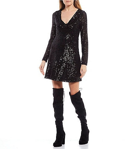 GB V-Neck Long-Sleeve Sequin Dress