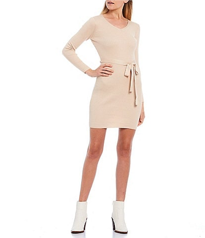 GB V-Neck Long Sleeve Tie Waist Ribbed Sweater Dress