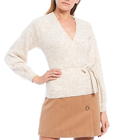GB V-Neck Long Sleeve Wrap Sweater