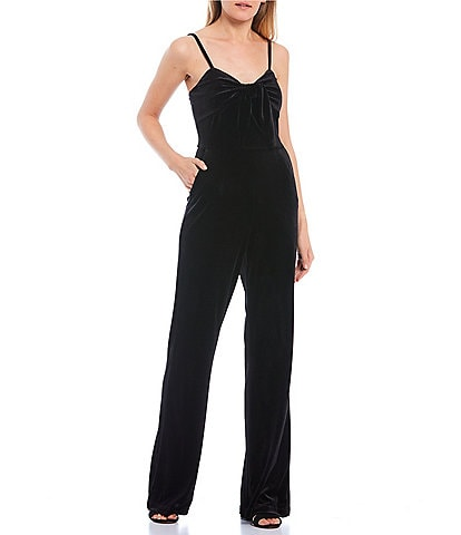 GB Velvet V-Neck Bow Detail Jumpsuit