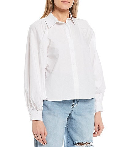 GB Woven Button Front Puff Sleeve Top