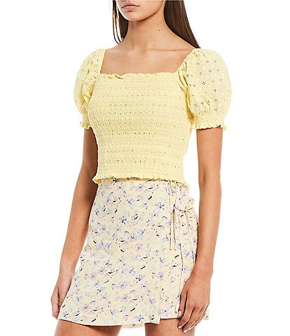 GB Woven Eyelet Smocked Top