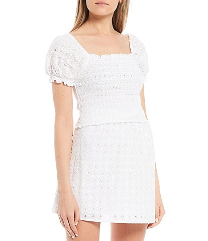 GB Coordinating Woven Eyelet Smocked Top