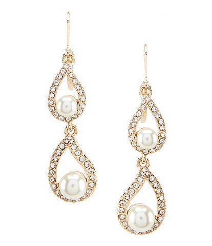Gemma Layne Pavé & Faux-Pearl Double-Drop Earrings