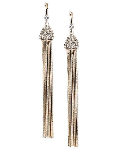 Gemma Layne Pave Chain Tassel Statement Earrings