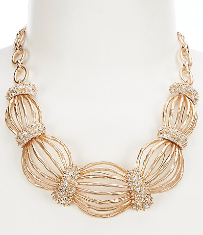 Gemma Layne Pave Hammered Collar Necklace