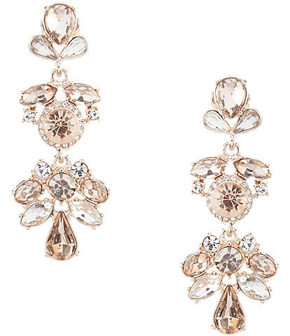 Gemma Layne Round Pav Multi Stone Drop Statement Earrings