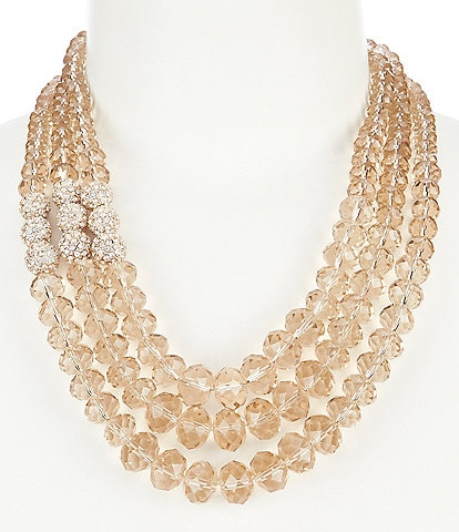 Gemma Layne Three Row Pave Bead Frontal Necklace