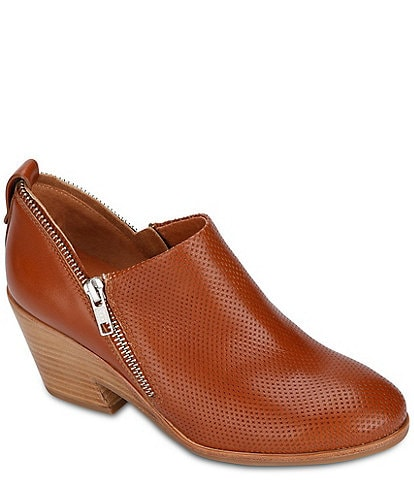 Gentle Souls Blaise Perforated Leather Double Zipper Detail Stacked Block Heel Booties