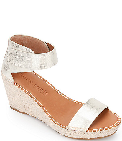 Gentle Souls Charli Ankle Strap Metallic Leather Espadrille Wedges