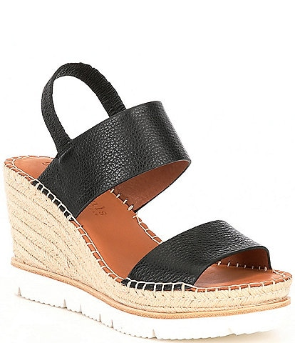 Gentle Souls Elyssa Leather Two Band Espadrille Wedge Sandals