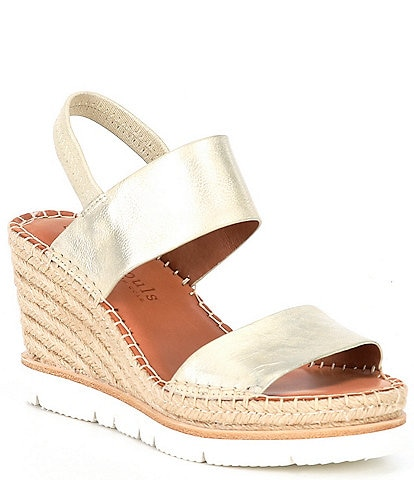 Gentle Souls Elyssa Two Band Leather Espadrille Platform Wedge Sandals