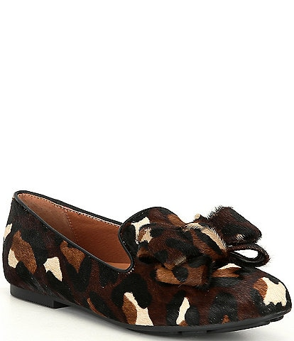 Gentle Souls Eugene Ribbon Leopard Print Calf Hair Bow Loafers