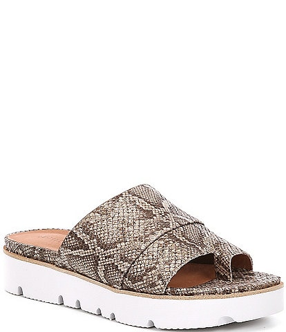 Gentle Souls Lavern Snake Print Leather Platform Slides